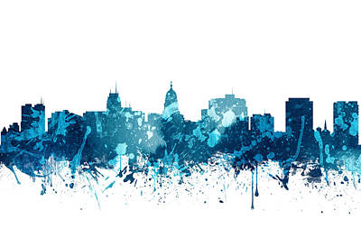 Madison Painting - Madison Wisconsin Skyline 20 by Aged Pixel