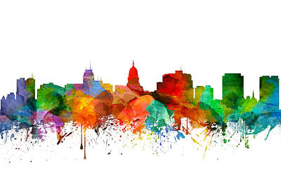 Madison Painting - Madison Wisconsin Skyline 21 by Aged Pixel