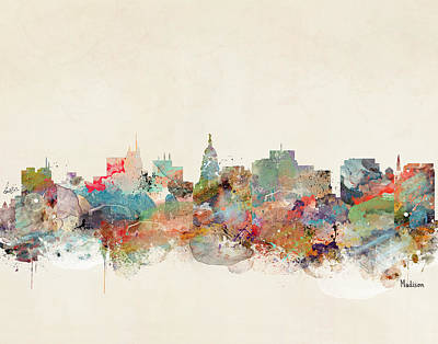 Painting - Madison Wisconsin Skyline  by Bleu Bri