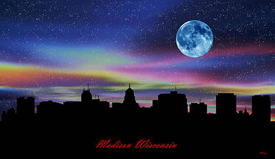 Office Decor Digital Art - Madison Wisconsin Twilight Skyline by Gregory Murray