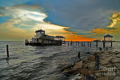 Art Print featuring the photograph Madisonville Katrina Ghost Boat  by Luana K Perez