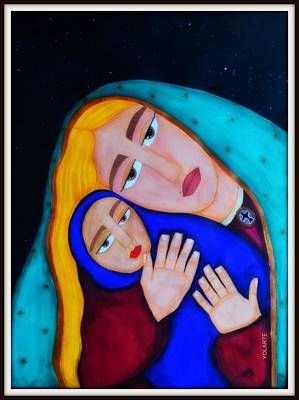 Jesus With A Child Painting - Madona With A Child by YOLARTE Yolanda Ortiz