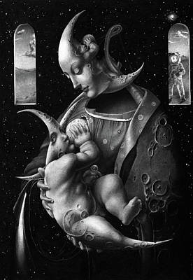 Caring Mother Drawing - Madonna #13 by Dmitry Vorsin