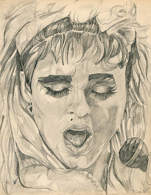Portrait Drawing - Madonna by Allen Walters