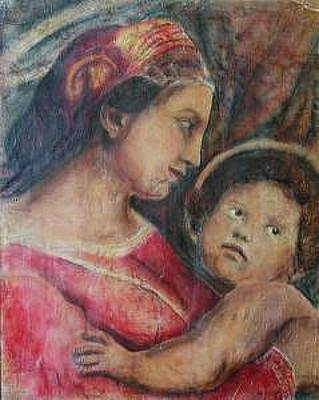 Painting - Madonna And Child   In Profile    Based On Work On By Raphael by Judy Loper