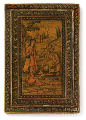 Garden Scene Painting - Madonna And Child And A Scene In A Garden by Celestial Images