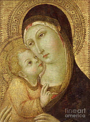 Halos Painting - Madonna And Child by Ansano di Pietro di Mencio