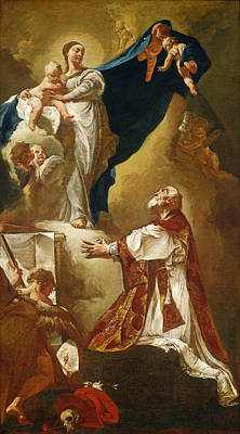 Catholic For Sale Painting - Madonna And Child Appearing To Saint Philip Neri by Giovanni Battista Piazzetta