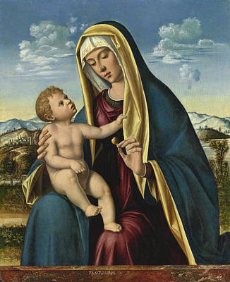 Painting - Madonna And Child Before A Pink Granite Ledge, An Extensive Mountainous Landscape Beyond by Pasqualino Veneto