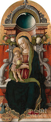 Queen Mary Painting - Madonna And Child Enthroned With Donor, 1470 by Carlo Crivelli