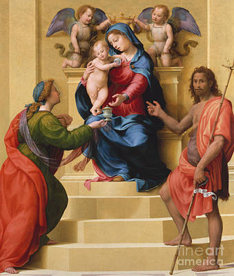 St Mary Magdalene Painting - Madonna And Child Enthroned With Saints Mary Magdalene And John The Baptist by Giuliano Bugiardini