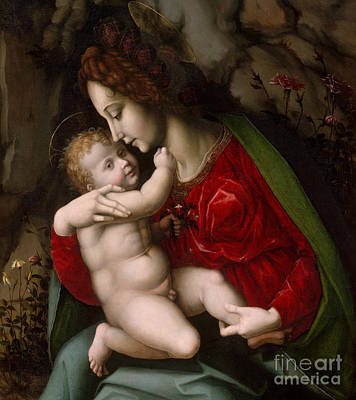 Jesus Art Painting - Madonna And Child by Francesco Ubertini Verdi Bachiacca