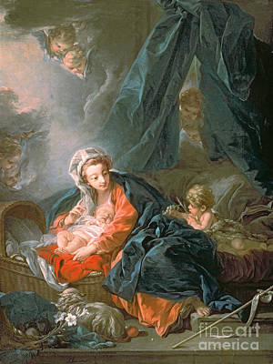 Nativity Scene Painting - Madonna And Child by Francois Boucher