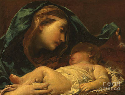 Drapery Painting - Madonna And Child by Giuseppe Maria Crespi