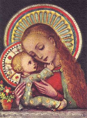 Religious Art Painting - Madonna And Child Halos by Unknown