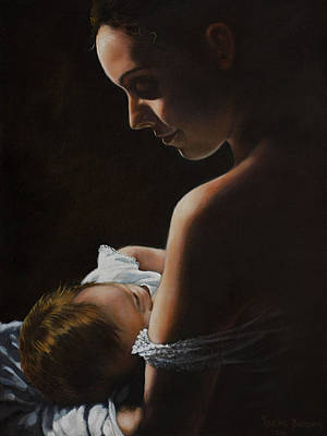 Figurative Painting - Madonna And Child by Harvie Brown