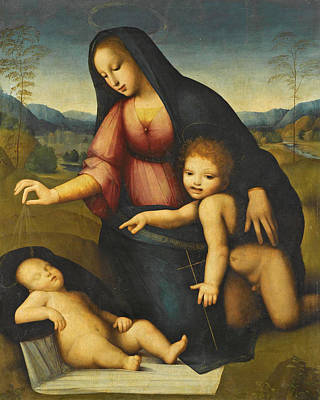 Painting - Madonna And Child In A Landscape With The Infant St John The Baptist by Andrea del Brescianino