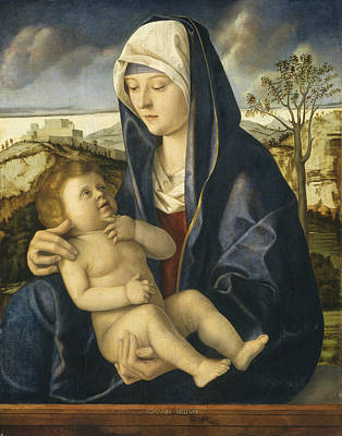 Madonna And Child In A Landscape Art Print by Workshop Of Giovanni Bellini