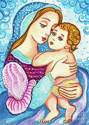 Painting - Madonna And Child In Blue by Eva Campbell