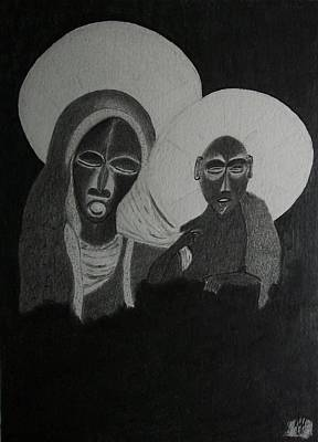 Christianity Drawing - Madonna And Child by Nick Young