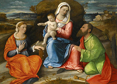 Painting - Madonna And Child With A Goldfinch With Saints Catherine And Paul Before An Extensive Landscape by Pietro degli Ingannati