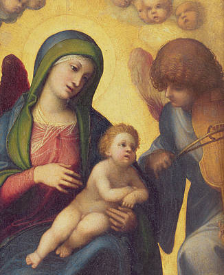 Blessed Virgin Painting - Madonna And Child With Angels by Correggio