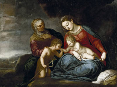 Saint Elizabeth Painting - Madonna And Child With Saint Elizabeth And John The Baptist by Pedro Atanasio Bocanegra