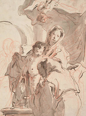 Drawing - Madonna And Child With Saint by Treasury Classics Art