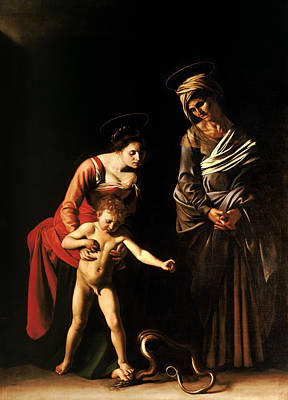 Mary And Jesus Painting - Madonna And Child With St. Anne by Caravaggio