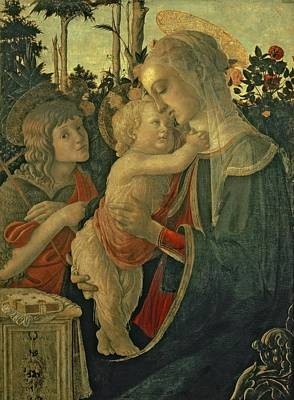 Halo Wall Art - Painting - Madonna And Child With St. John The Baptist by Sandro Botticelli
