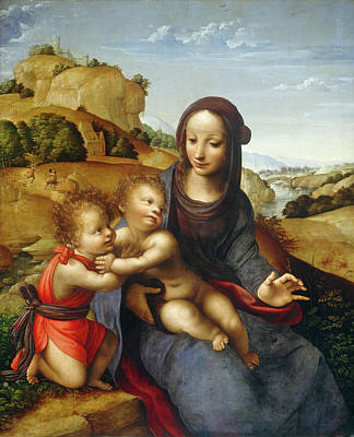 Painting - Madonna And Child With The Infant Saint John by Fernando Yanez De La Almedina