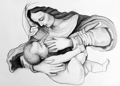 Christian Sacred Drawing - Madonna And Christ by Gabriela Junosova