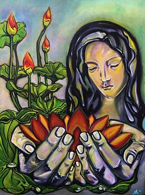 Alleyvision Painting - Madonna In The Lotus Garden by Heather Alley