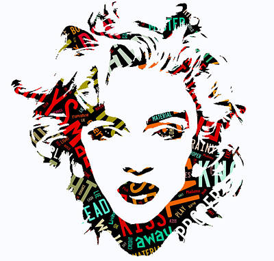 Madonna Mixed Media - Madonna Material Girl Song Lyrics by Marvin Blaine