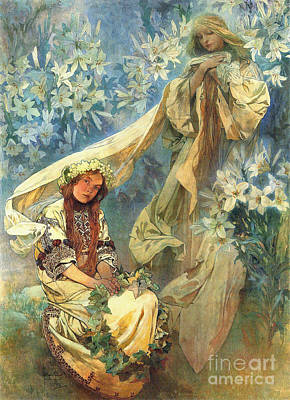 Virgo Photograph - Madonna Of The Lilies 1905 by Padre Art