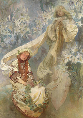Painting - Madonna Of The Lilies by Alfons Mucha