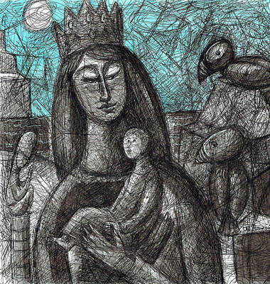 Painting - Madonna Of The Rocks by June Walker