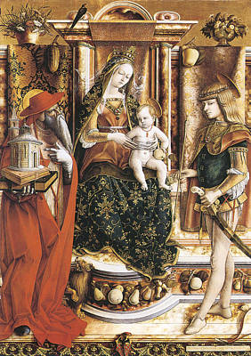 St Sebastian Painting - Madonna Of The Swallow by Carlo Crivelli