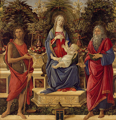 Jesus Art Painting - Madonna With Saints by Sandro Botticelli