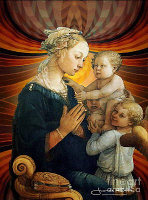 Madonna With The Child And Two Angels Art Print by Art Gallery