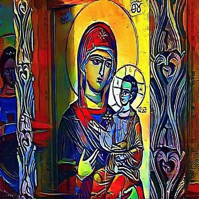 Queen Mary Digital Art - Madonna With The Child - My Www Vikinek-art.com by Viktor Lebeda