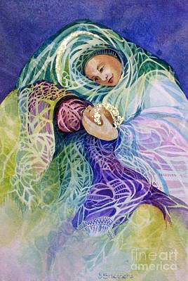 Abstract Mother And Child Painting - Madonna's Gift by Judith A Smothers