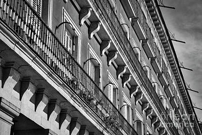 Photograph - Madrid Balconies Black And White by Carol Groenen