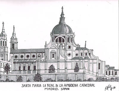 Drawing - Madrid Cathedral Aimudena by Frederic Kohli