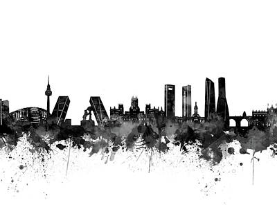Abstract Skyline Royalty-Free and Rights-Managed Images - Madrid City Skyline Black And White by Bekim M