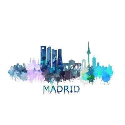 Espana Digital Art - Madrid City Skyline Hq V2 by HQ Photo
