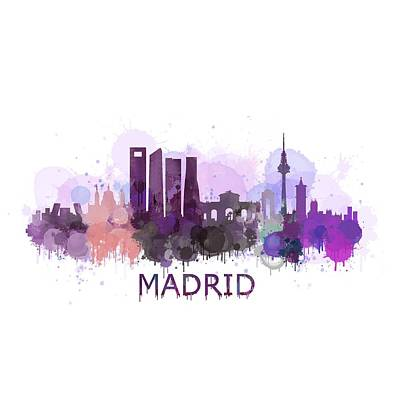 Buildings Drawing - Madrid City Skyline Hq V3 by HQ Photo
