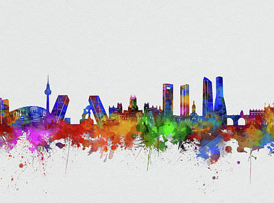 Abstract Skyline Royalty-Free and Rights-Managed Images - Madrid City Skyline Watercolor 2 by Bekim Art