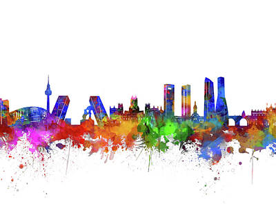 Abstract Skyline Royalty-Free and Rights-Managed Images - Madrid City Skyline Watercolor by Bekim Art