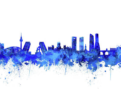 Digital Art - Madrid City Skyline Watercolor Blue by Bekim Art
